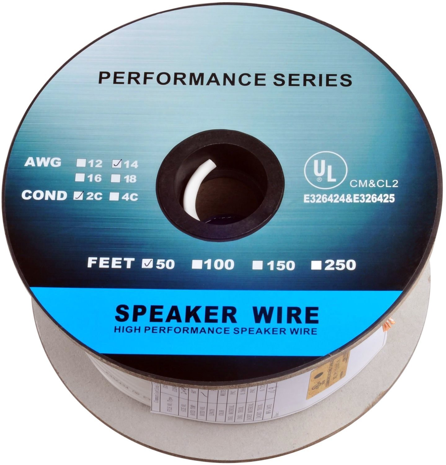 C&E 250 Feet 14AWG CL2 Rated 2-Conductor Loud Speaker Cable (For In-Wall Installation)