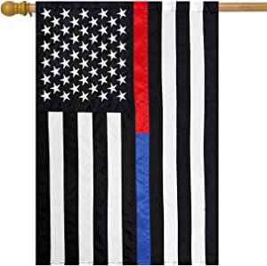 """Briarwood Lane Thin Blue & Red Line Applique & Embroidered House Flag Police Fire Dept 28""""x50"""""""