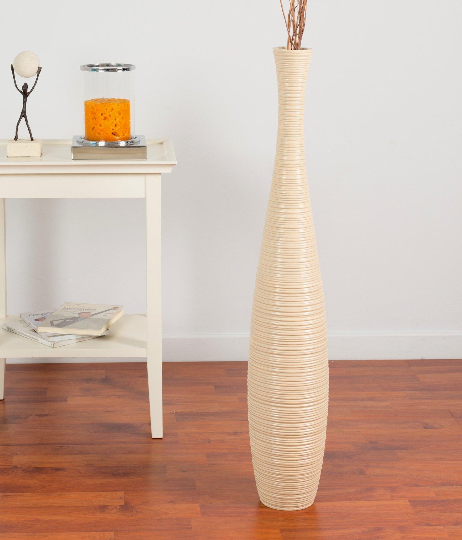 Leewadee Tall Floor Vase 36 inches, Wood, Creamy