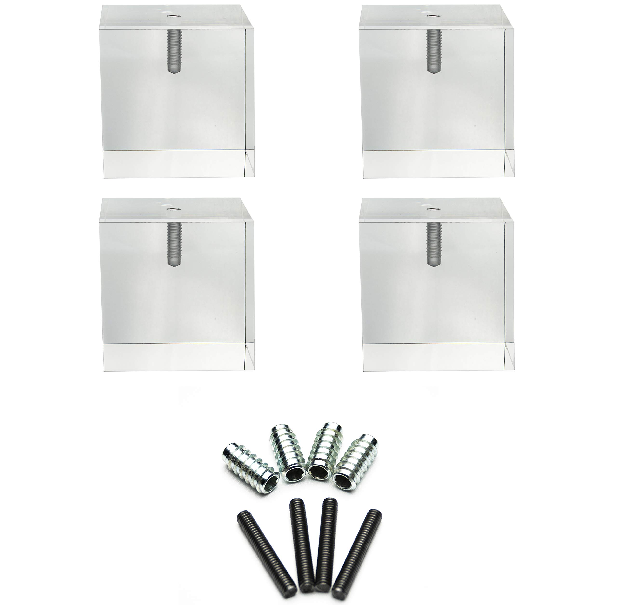 Acrylic Cube Furniture Feet- 3''H x 3''W- Set of 4- Perfect for Sofas, Chairs, Cabinets, Dressers, Sofas, and More!