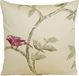 Bird Design Accent Pillow Case Tree Branch Cushion Cover Nina Campbell Fabric Maroon