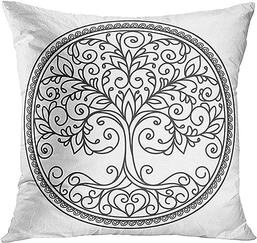 EVEI cushion covers Funda de Almohada de Vida Mandala en Blanco y ...