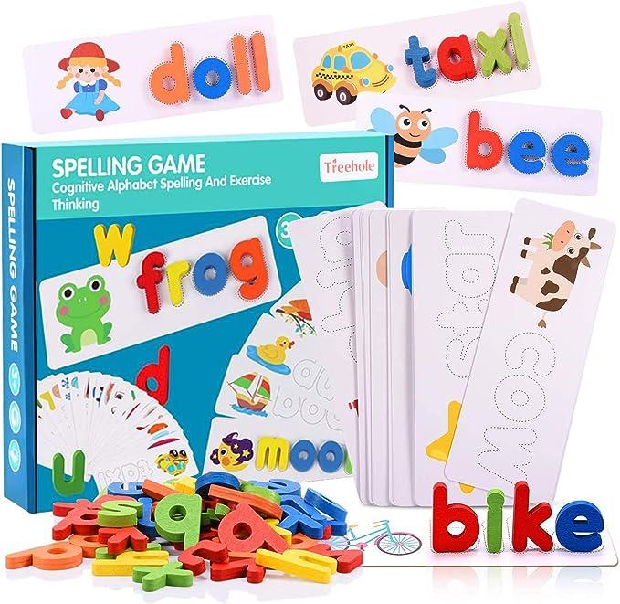 Funmo Alphabet Letter Word Match,Juego Educativo de Alfabetización en Inglés para Niños,Wooden Letters Puzzle Educational Toy,Alfabetos Tarjetas ...