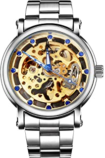 Erbida Automatic Mens Watch-Steampunk Stainless Steel Skeleton Watch for Men-Valentine Birthday Gifts