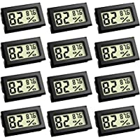 Mini Thermometer, Digital Refrigerator Freezer Thermometer with LCD Display Fahrenheit (℉) Thermometer Hygrometer for Humidors, Greenhouse, Garden, Cellar, Fridge, Closet (12 Pack)