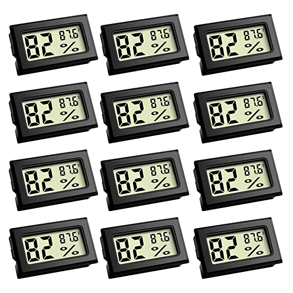 Mini Thermometer, Digital Refrigerator Freezer Thermometer with LCD Display Fahrenheit (?) Thermometer Hygrometer for Humidors, Greenhouse, Garden, Cellar, Fridge, Closet (12 Pack) (Color: 12 Pack)