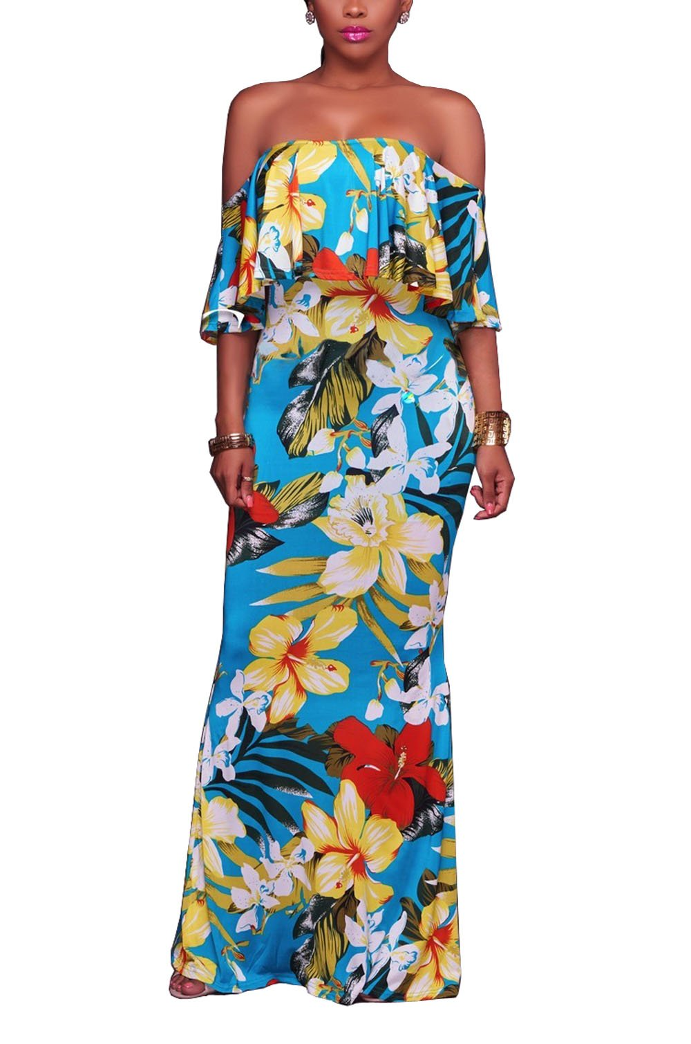Suimiki Vintage Ruffle Plain Floral Printed Off Shoulder Bodycon Long Party Maxi Dress Blue Style-2 Large