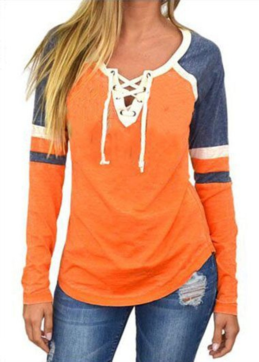 Famulily Women's Lace Up Front Long Sleeve Tops Striped Crew Neck Raglan Baseball Tee Shirt(S,Orange)