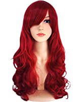 AnotherMe Long Big Wavy Dark Wine Red Hair Women Heat Resistant Fiber Wig Party Cosplay