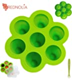 REDNOLIA Baby Food Freezer Tray with Spoon | Best Multiportion Silicone Food Storage Container for Homemade Baby Food Purees and BreastMilk | 7 x 2.5 OZ | BPA-FREE | Green