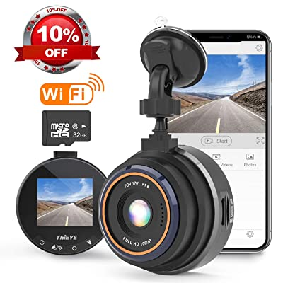 THiEYE Dash Cam WiFi, Dashcam for Car Driving Recorder 1080P FHD LCD Screen Driving Recorder, Phone App, Night Vision, Wide Angle Lens, G-Sensor, WDR, Loop Recording, SD Card Included : Electronics
