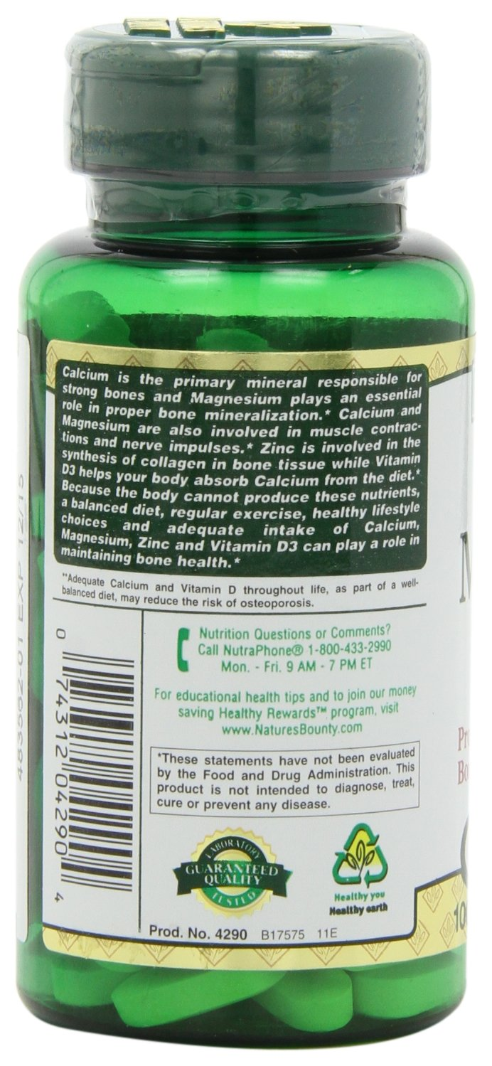 Nature's Bounty Calcium Carbonate Pills with Magnesium and Zinc Mineral Supplement, Supports Bone Strength and Health, 1000mg, 100 Caplets by Nature's Bounty (Image #8)