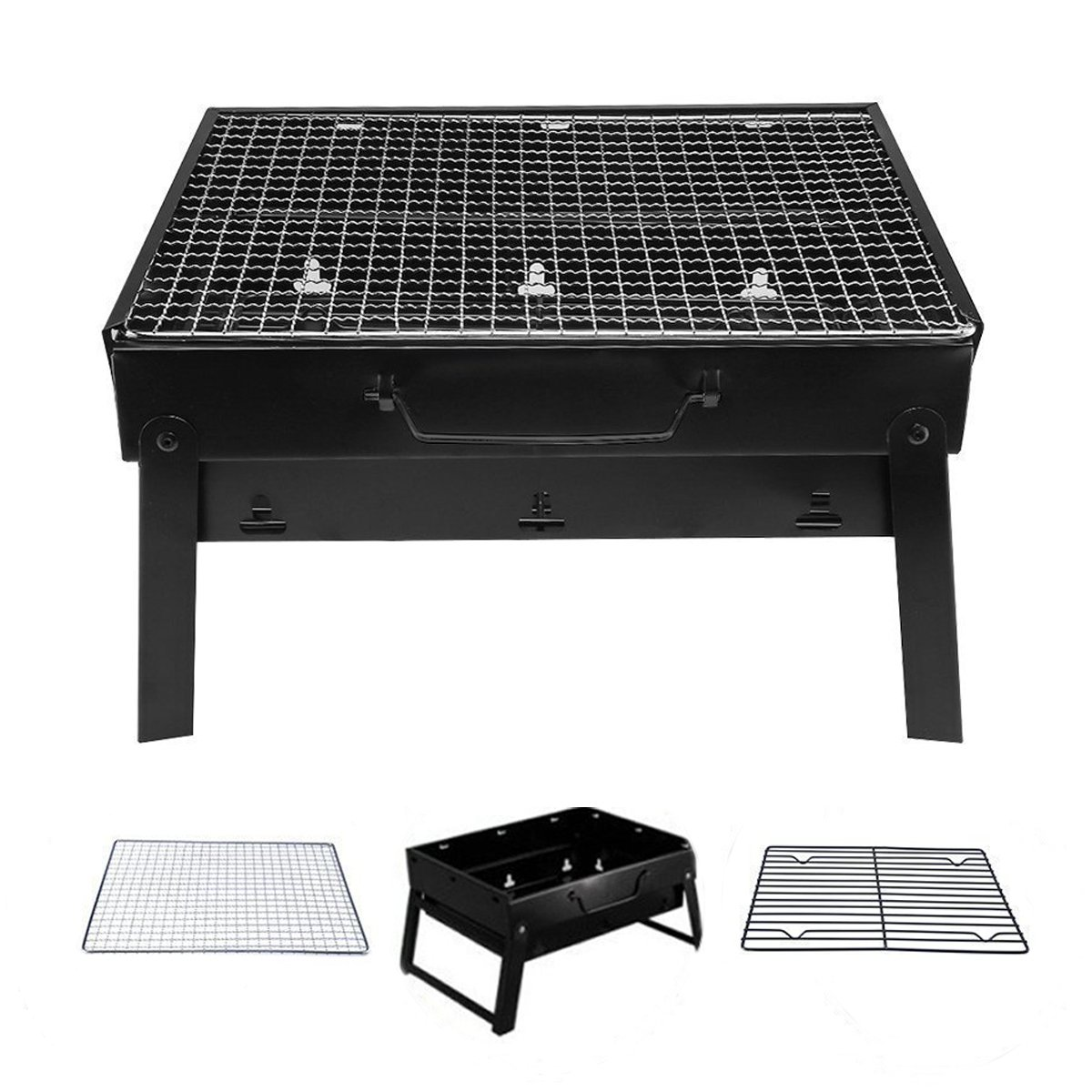 Crystals BBQ Barbecue Grill Portable Folding Charcoal for Camping Garden Outdoor Cooking Fun by