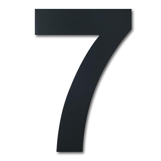 Número de casa moderno cepillado,152 mm de altura, hecho de acero inoxidable 304 sólido, chapado en negro (Número 7 Siete)