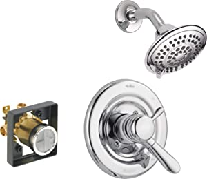 Delta Faucet Lahara 17 Series Dual-Function Shower Trim Kit with 5-Spray Touch-Clean Shower Head, Chrome T17238 (Valve Included)