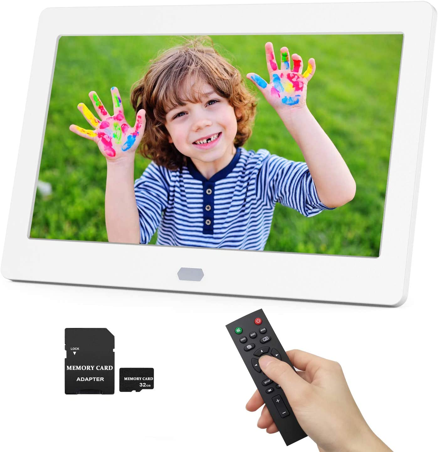 Black Business Picture Frame Electronic Video Music Player Automatic Slideshow for Home Sale 11.6 Inch Digital Photo Frame 1920x1080 HD Advertising Board with Motion Sensor Built-in Speaker