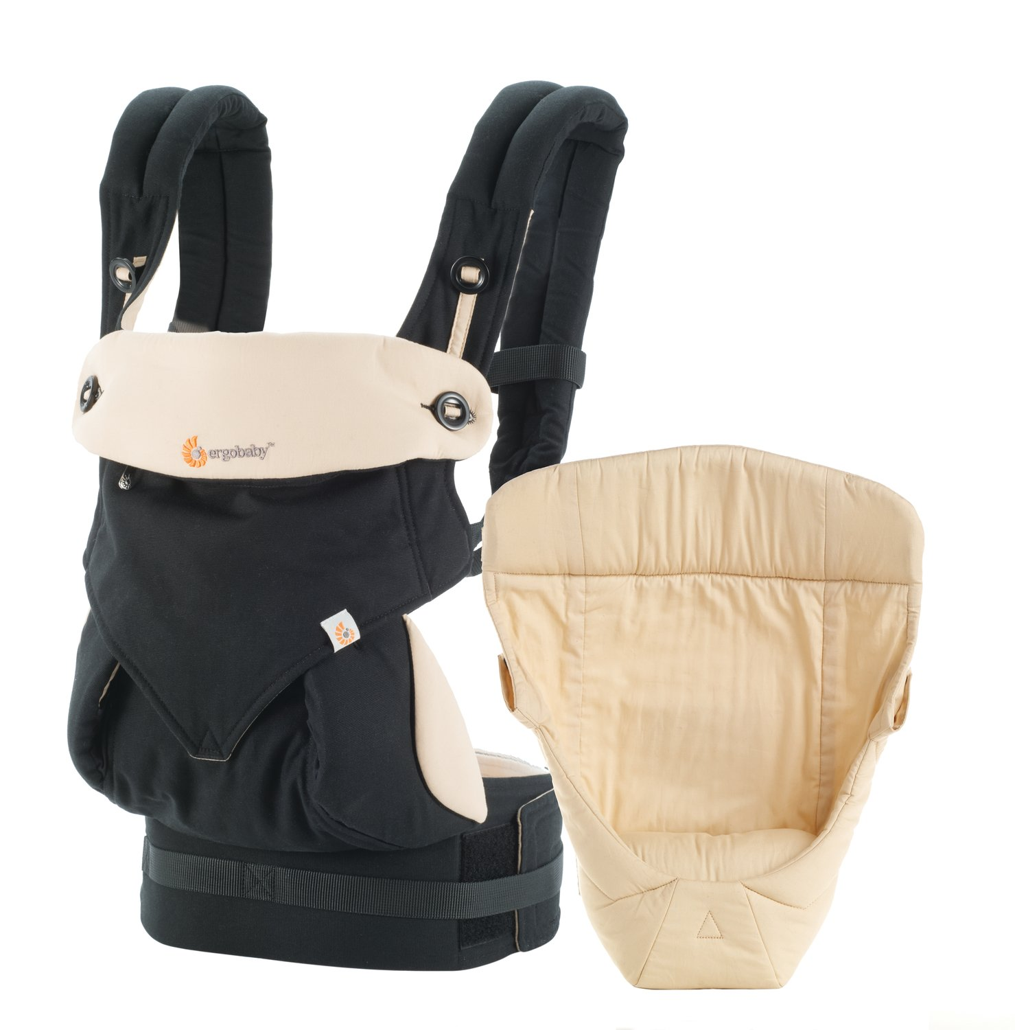 Ergobaby Bundle - 2 Items: Black/Camel All Carry Position Award Winning 360 Baby Carrier and Easy Snug Infant Insert, Natural BCII360ABKCMV3