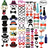 Photo Booth Props - 90Pcs Party Decoration Kit - Photobooth Accessories Complete Set with Sticks, Glasses, Mustaches, Hats - Reusable and Sturdy For Different Events