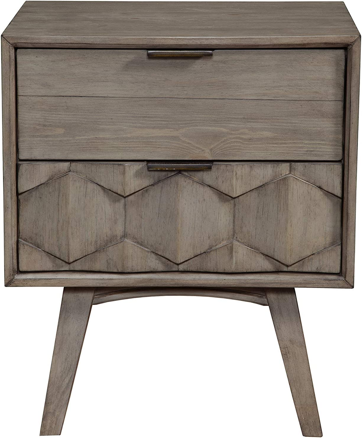 Alpine Furniture Shimmer Wood 2 Drawer Nightstand in Antique Gray