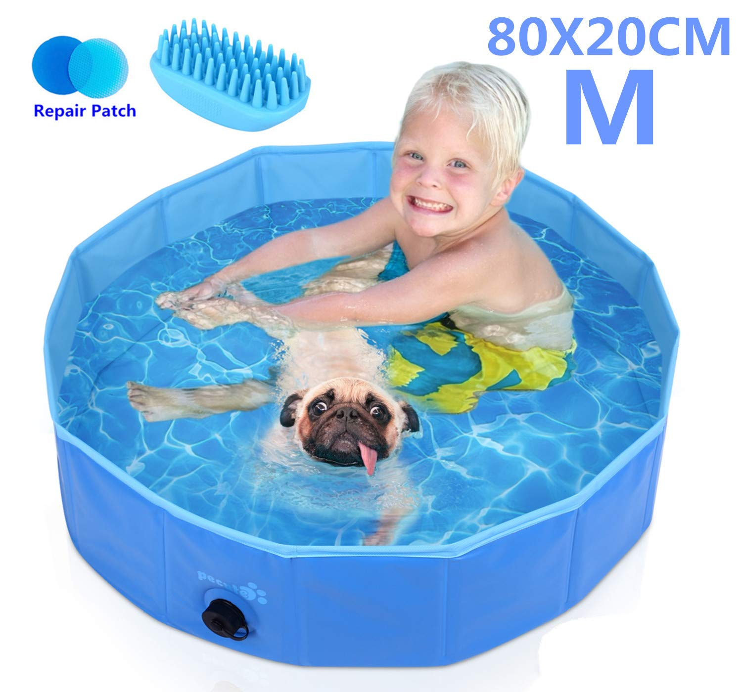Pecute Dog Pool PVC Outdoor Pool Bathing Tub Portable Pet Playing Pool for Dogs Cats and Kids -(M,Φ32 × H8 Inches)