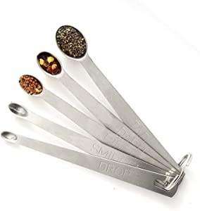 Brccee AC Measuring Spoons Set of 5, (tad, dash, pinch, smidgen and drop) Mini Stainless Steel Measuring Spoons