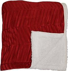 Joseph Abboud Brushed Mink Sherpa Reversible Throw Blanket, Brick