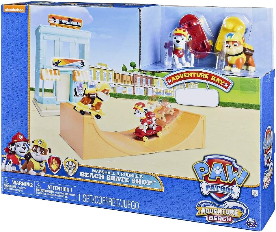 Paw Patrol Adventure Bay Marshall and Rubbles beach skate shop
