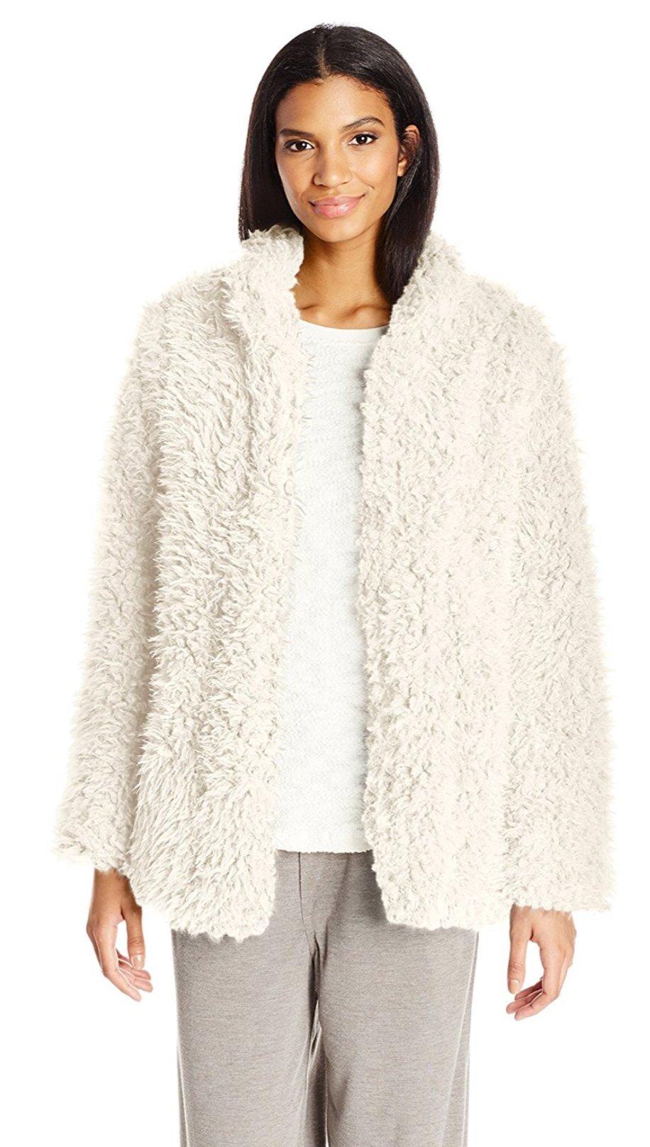 PJ Salvage Women's Shag Jacket, Natural, M