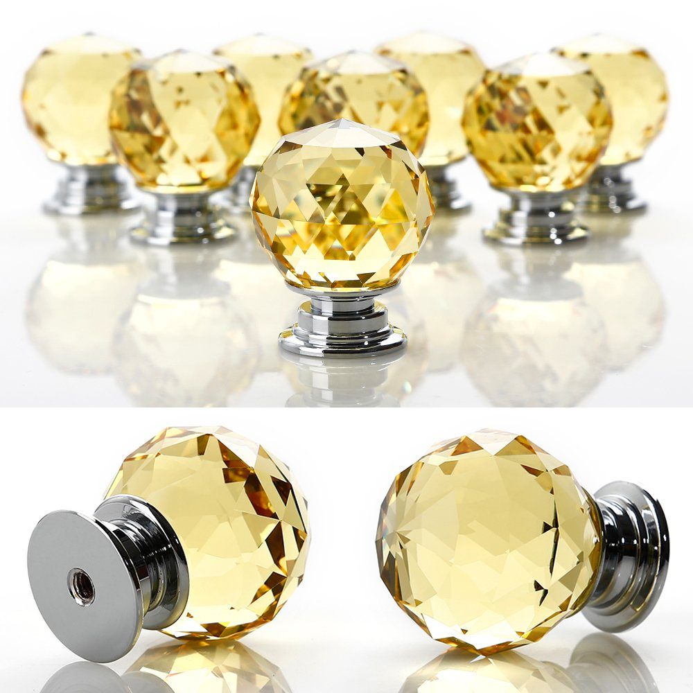 Crystal Door Knobs, 8 X 30MM Crystal Glass Diamond Cut Door Knobs Kitchen Cabinet Drawer Knobs with Screw for Home Decorating, Yellow