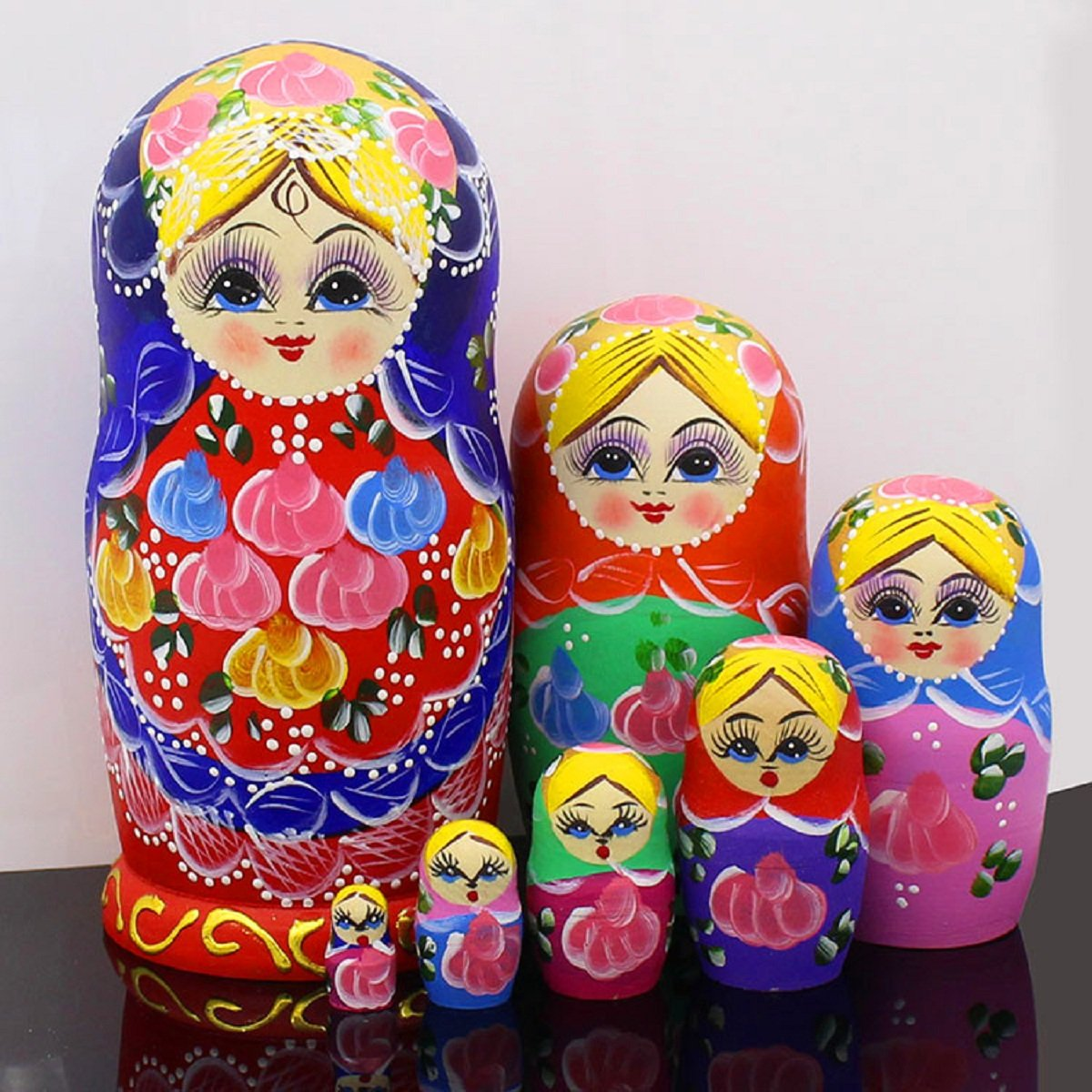 7pcs Cute and Beautiful Red Belly Girl Stacking toys/Russian nesting dolls/Wooden Matryoshka dolls