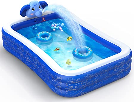 Hamdol Inflatable Swimming Pool, Kiddie Pool with Sprinkler, 99