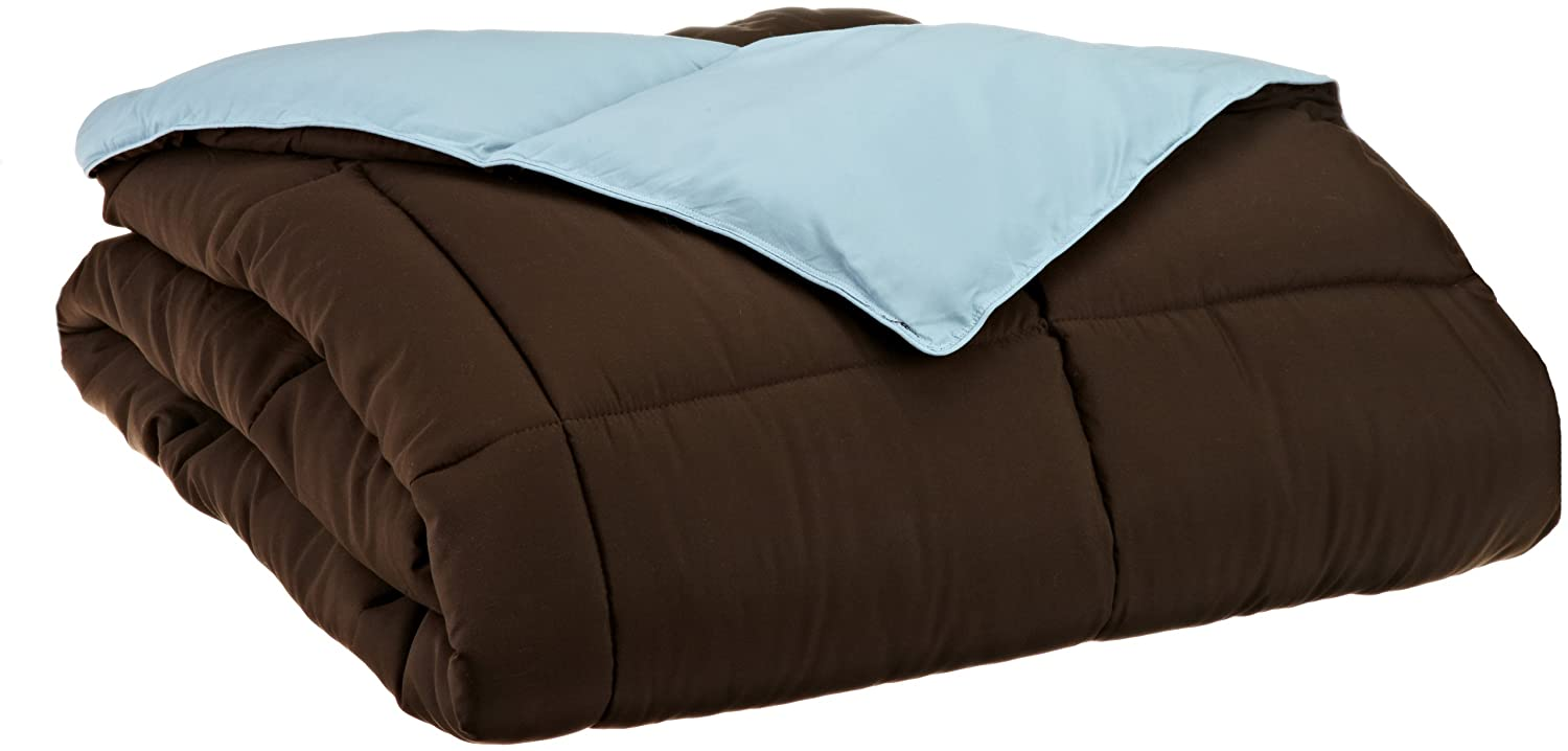 Superior All Season Down Alternative King Reversible Comforter, Chocolate/Sky Blue