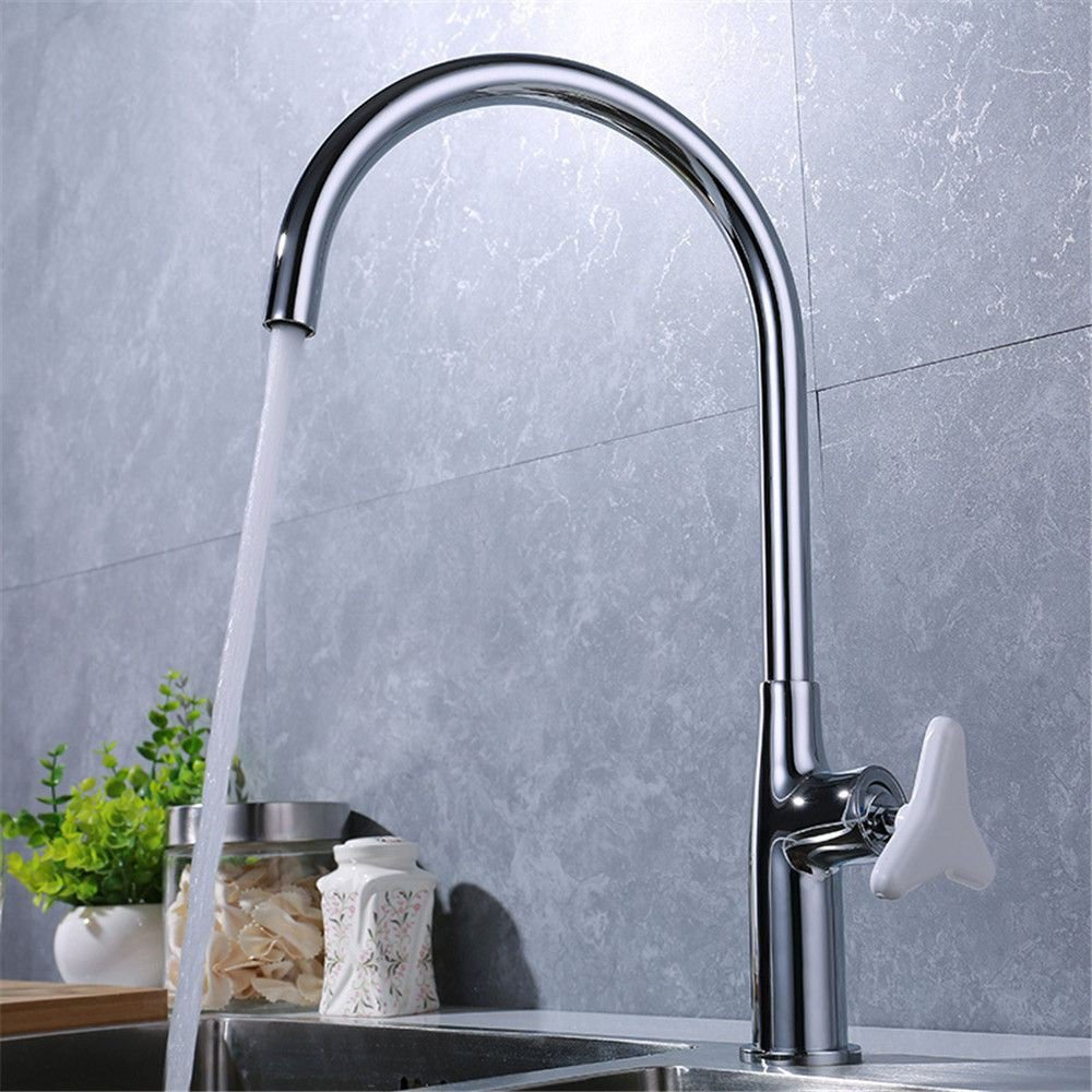 LHbox Tap Sprayer Spout Kitchen Faucet Chrome-Copper-Colored Triangle Safety Handle Kitchen Faucet Single-Console Basin Sink Mixer