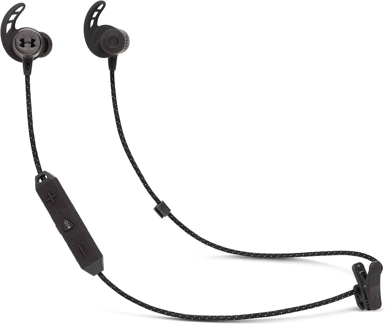 Under Armour Sport REACT - Auriculares inalámbricos deportivos, Cascos con Bluetooth y Audífono Biónico, Resistente al agua (IPX7), Hasta 9 horas de música, Color Negro