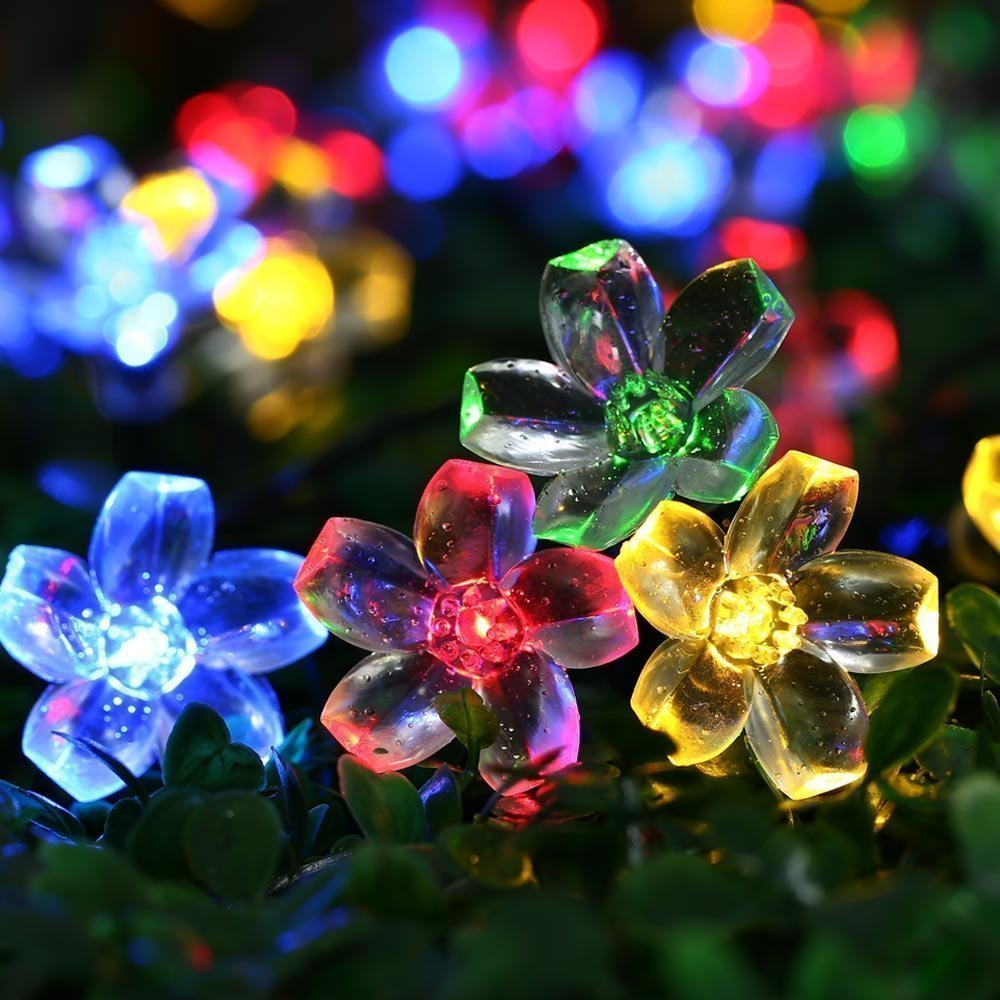 Qedertek Solar Christmas String Lights 50 LED Waterproof Cherry Blossom  Solar Flower String Lights For Indoor/Outdoor, Patio, Garden, Xmas,  Holiday, ...