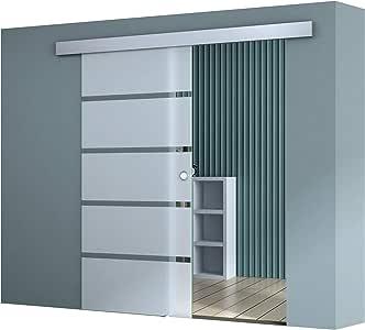 Sogood Puerta corrediza de vidrio 102,5x215cm diseño Amalfi TS11H-SC-1025-2150 MSMG, con sistema Softclose y puerta de vidrio de seguridad ESG parcialmente satinado para habitación u oficinas: Amazon.es: Bricolaje y herramientas