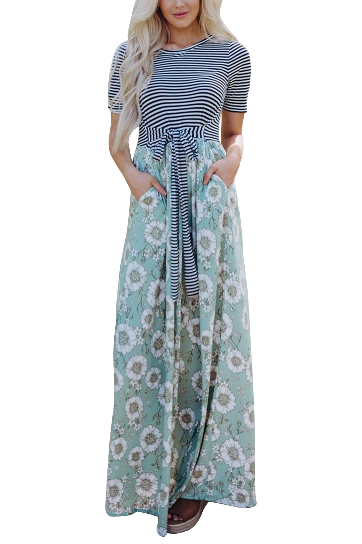 JOXJOZ Women's Casual Maxi Dress with Sleeves Striped Floral Long Party Dresses with Pockets ((Short Sleeve) Green, L)