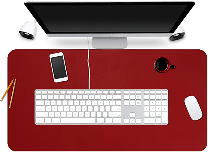 """BUBM Desk Pad Protector 35"""" x 18"""", PU Leather Desk Mat Blotters Organizer with Comfortable Writing Surface(Red)"""