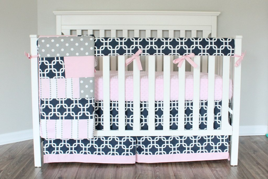 Navy Pink Gotcha Baby Girl Crib Bedding Set. Pink Gray Navy Crib Skirt, Rail cover, Minky Sheet