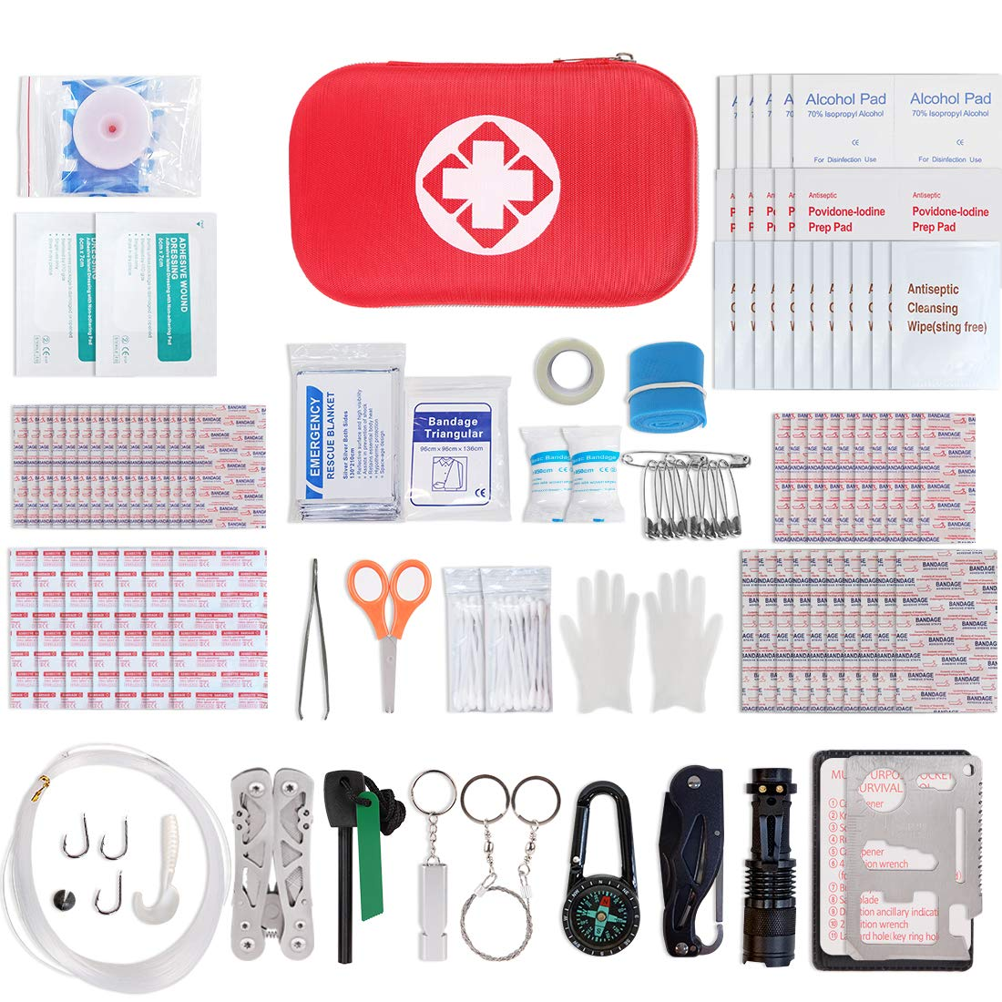 First Aid Kit, Genround Compact Small First Aid Bag, Survival Emergency Bag Kit-Incl Band Aids, Bandages, Scissors, Emergency Blanket, CPR Mask by Genround