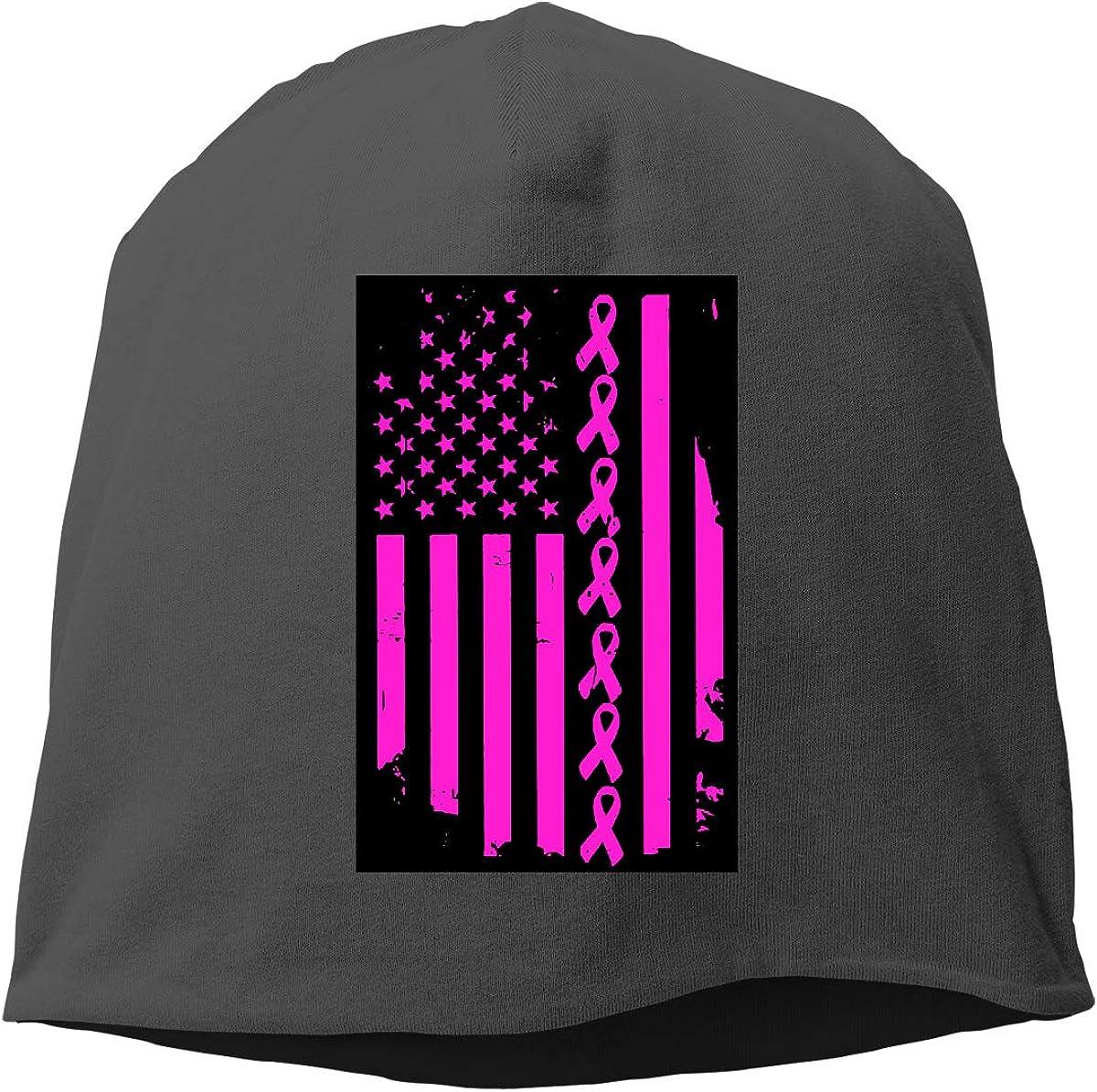 Breast Cancer USA Ribbon Flag Skull Cap Helmet Liner Beanie Cap for Men Hip Hop Hedging Head Hat