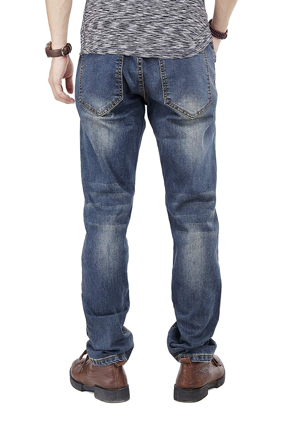 Fashion Mens Jeans Ruiatoo Mens Relaxed-fit Jeans Classic Loose Straight-Leg Jean