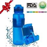 4activeU Collapsible Water Bottle | 22oz Sports Bottle Blue