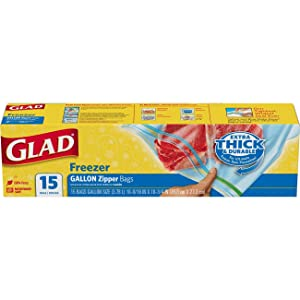 Glad Zipper Food Storage Freezer Bags - Gallon Size - 15 Count (Package May Vary)