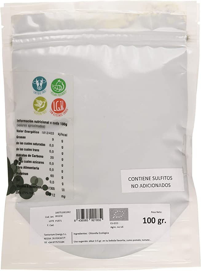 Energy Feelings Chlorella en Polvo Ecológica | Alga Chorella Orgánica | Detox Hígado y Colon | 60% Proteína Vegetal | Sin Gluten | Sin Lactosa | 200g ...