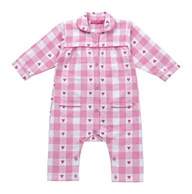 6db3bdf56ab0 Piccalilly Organic Cotton Pink Baby Girls Gingham Heart Romper ...