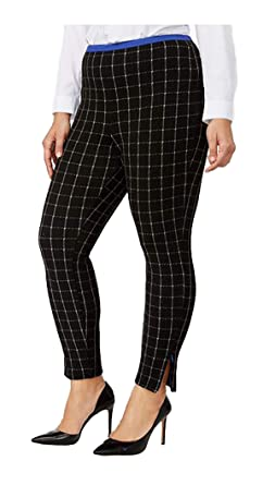 49d4c714899a2 HUE Women's Plus Size Windowpane Loafer Skimmer Leggings (3X, Black) at Amazon  Women's Clothing store: