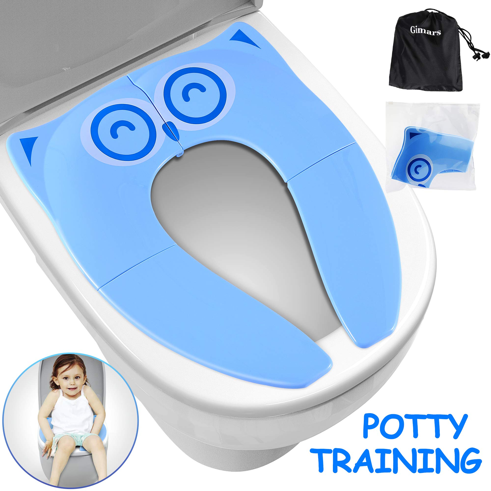 Gimars Upgrade Folding Large Non Slip Silicone Pads Travel Portable Reusable Toilet Potty Training Seat Covers Liners with Carry Bag for Babies, Toddlers and Kids,Blue