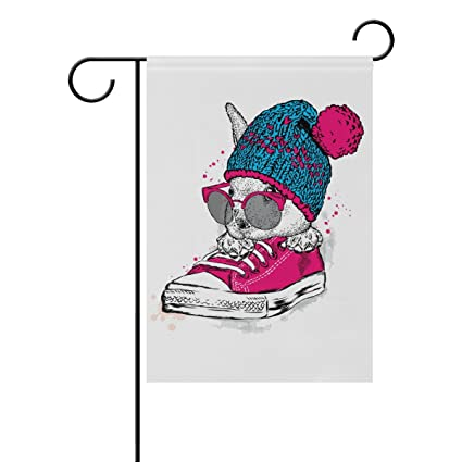 Top Carpenter Rabbit with Glasses and Hat in Sneakers Double-Sided Printed  Garden House Sports Flag - 28x40(in) - 100% Premium Polyester Decorative