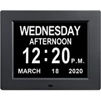 [2020 Upgraded] Digital Day Calendar Clocks 12 Alarm Options Non-Abbreviated Day & Month Auto-Dimming Extra Large…